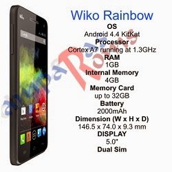 Wiko Rainbow specs and stock rom download