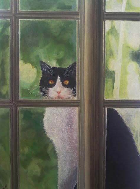 gato pintado,acrilico