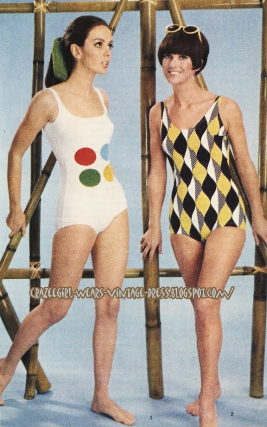 Swimsuit Op Art - 1966 swim suit 1960 60s