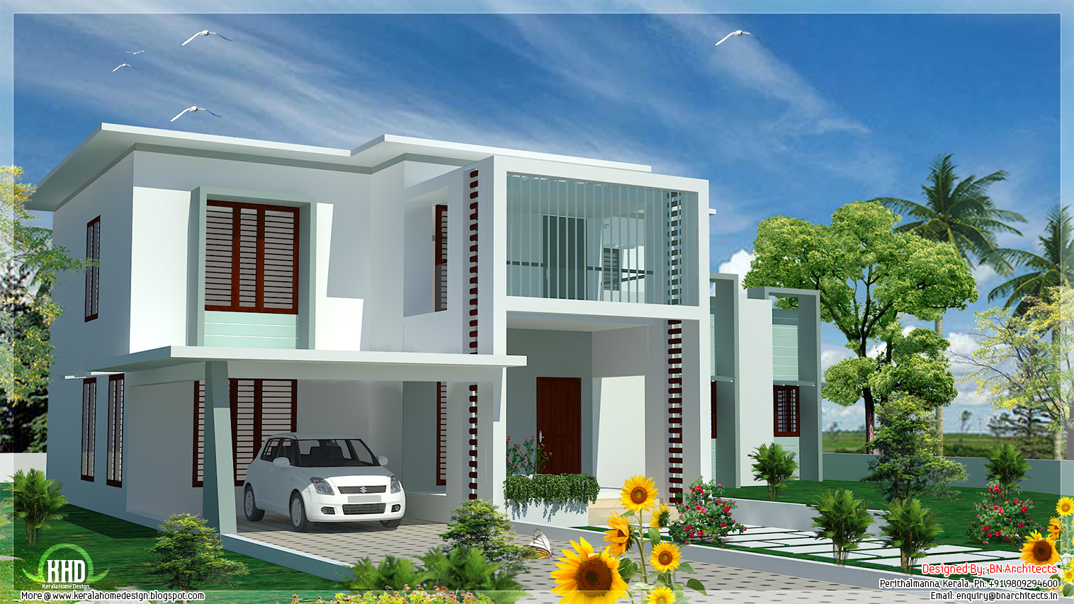 4 bedroom modern flat roof house kerala home design and for Home plans architect