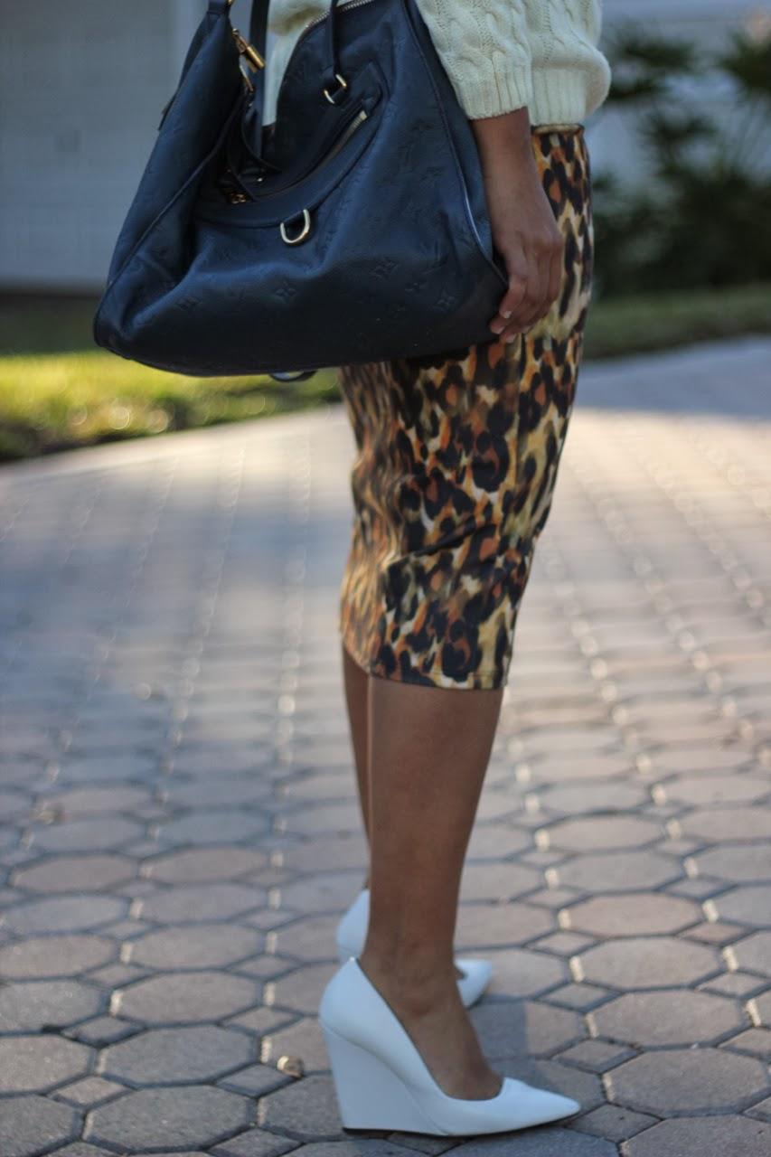 leopard pencil skirt louis vuitton white wedge pump