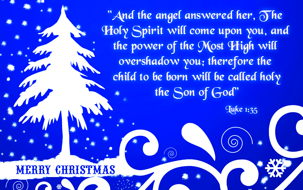 Christmas Greeting Card With Bible Verses About Jesus Birth In Luke 1:35