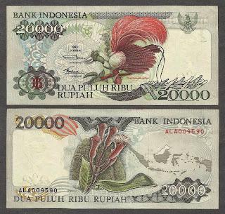 Pecahan 20000 Rupiah emisi 1992
