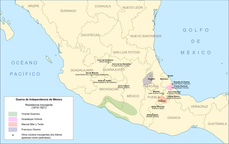 Núcleos de la resistencia insurgente entre 1814 y 1821.
