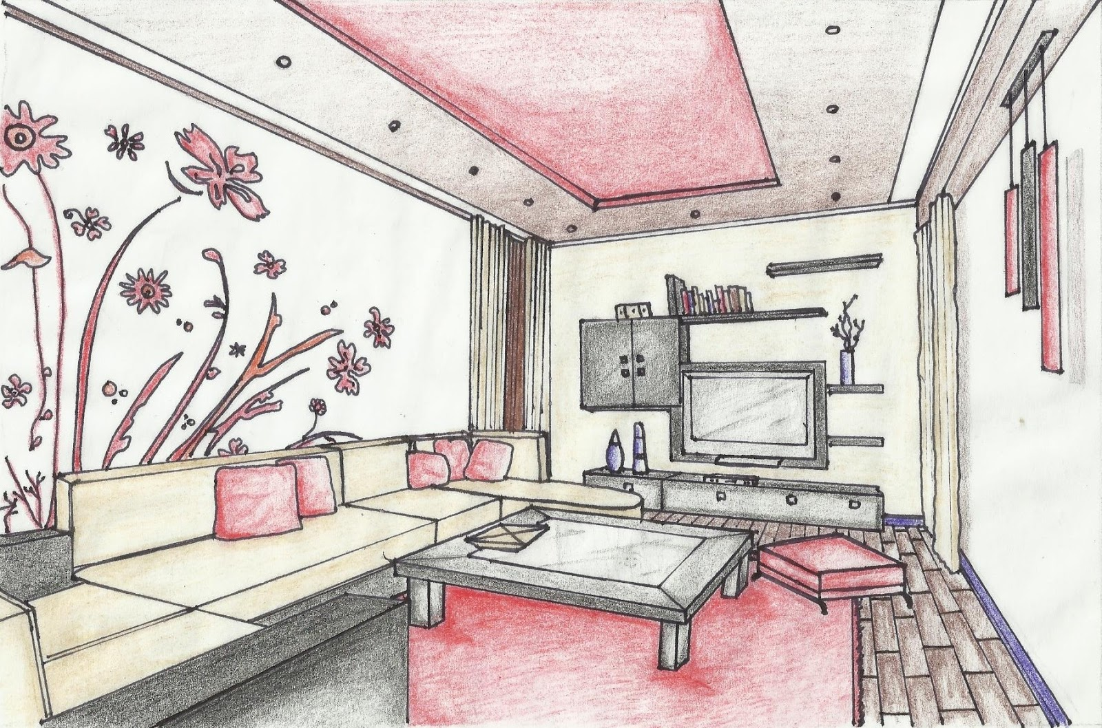 Manchester school of architecture portfolio sketches for Drawing room interior design photos