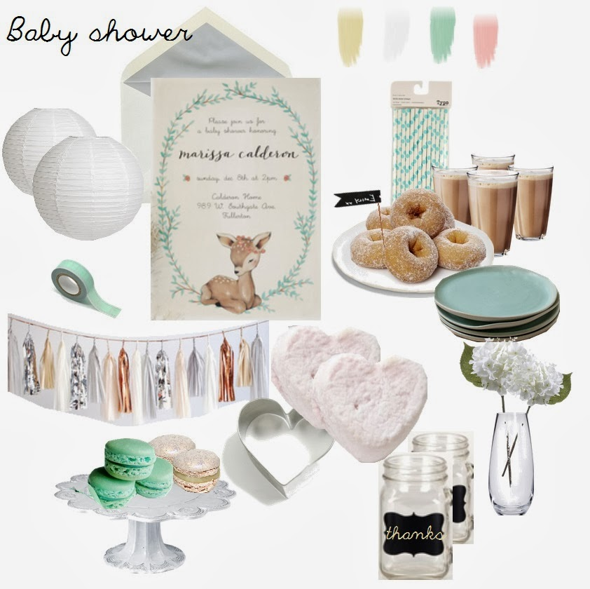 Baby shower moodboard - mint + white + neutral