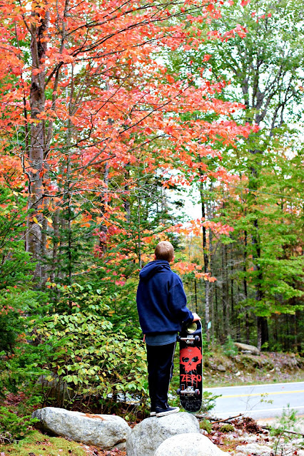 Boy with skateboard and fall foliage - www.goldenboysandme.com