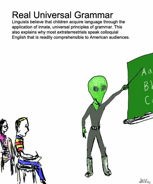 universal grammar Universal grammar this mental grammar is not necessarily the same for all languages but according to chomskyian theorists, the process by which, in any given language, certain sentences are perceived as correct while others are not, is universal and independent of meaning.
