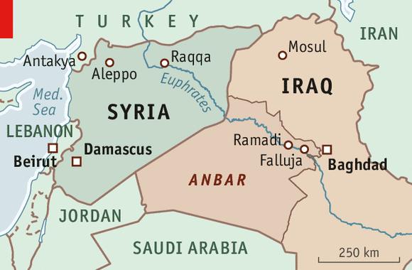 mapa de Siria y Jordania