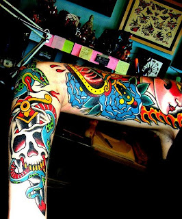 Colorful Traditional Arm Tattoos