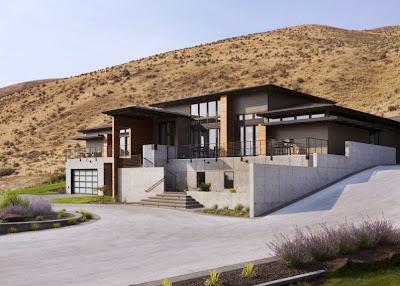 Perspectiva de casa en la montaña