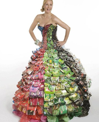 created this dress out of throw away packaging to see more of garyDress Made Out Of Recycled Materials
