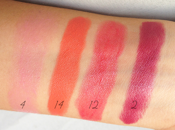 mua shade 4 14 12 2 lipstick swatches