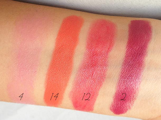 mua shade 4 14 12 2 lipstick swatches