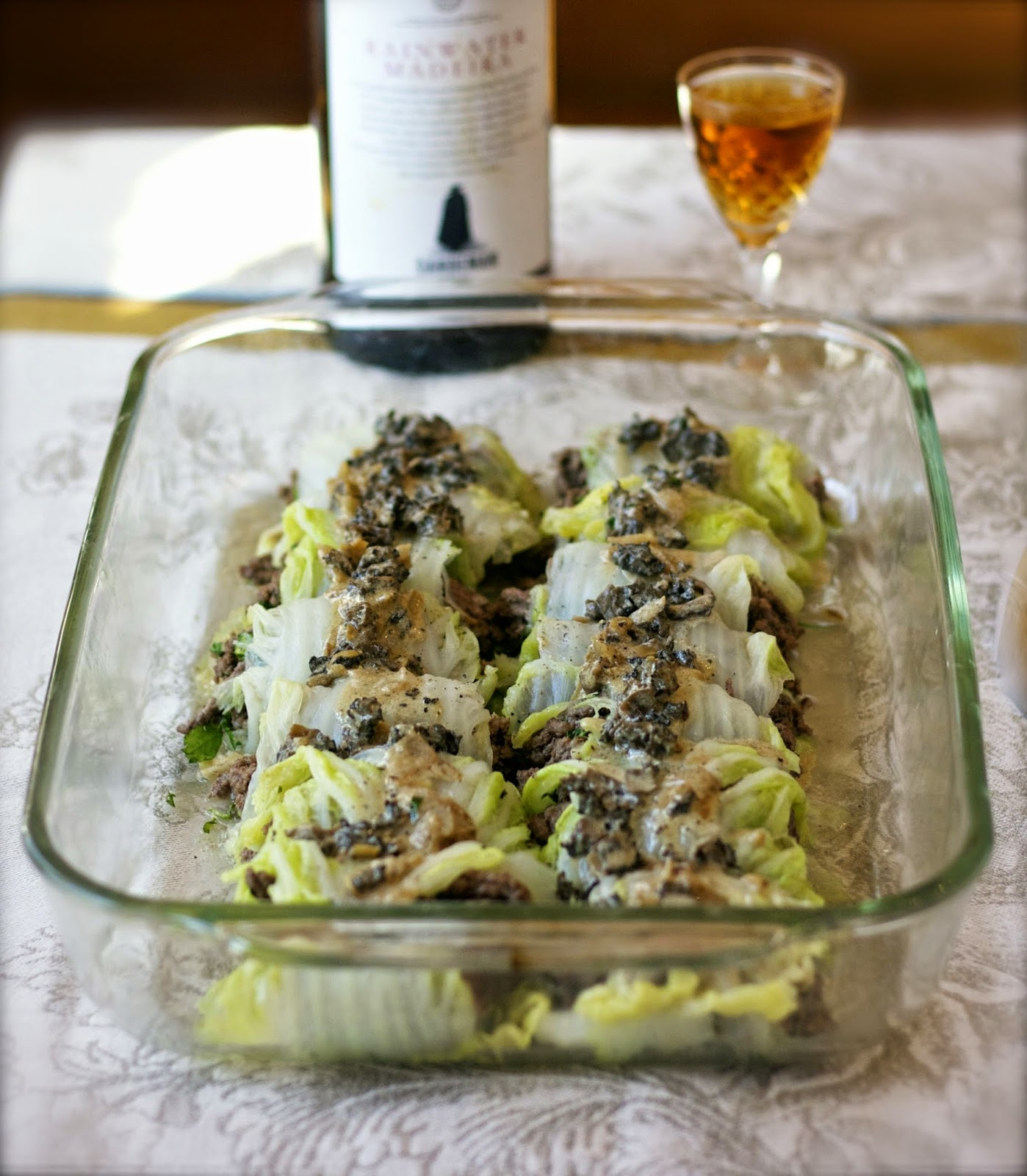Stuffed Cabbage with Morel Cream Sauce- simplelivingeating.com