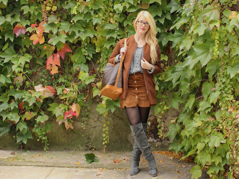 TheBlondeLion Fashion Look Button up Skirt im Herbst Overknees Louis Vuitton Sac Noe