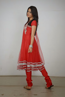 Actress Sakshi Choudhary Latest Picture Gallery in Red Salwar Kameez 0048.JPG