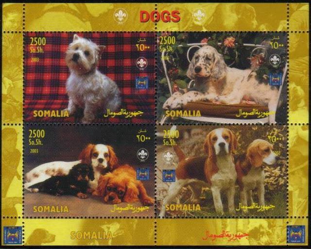 2004年ソマリア民主共和国 ウエスト・ハイランド・ホワイト・テリア イングリッシュ・セター キャバリア・キング・チャールズ・スパニエル ビーグルの切手シート