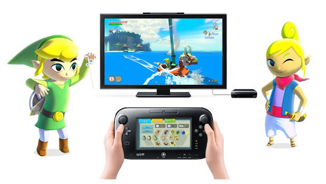 Screenshot of The Legend of Zelda: Wind Waker HD being played on a TV with the inventory item select screen displayed on the GamePad. Link is standing on the left side of the image, and Tetra is on the right.