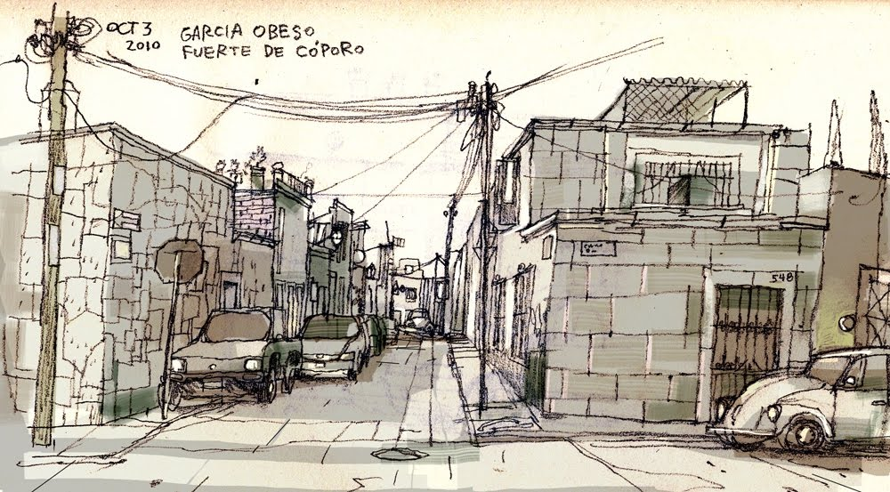 Drawing of Garcia Obeso Street in Morelia Mexico