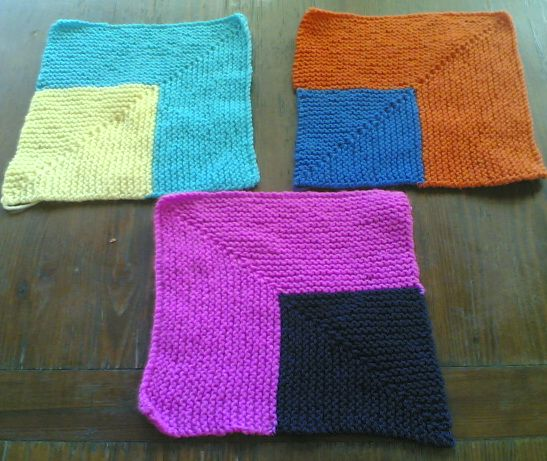 Knitting Patterns For Knitting Squares : Knitting Galore: How To Knit A Mitered Square