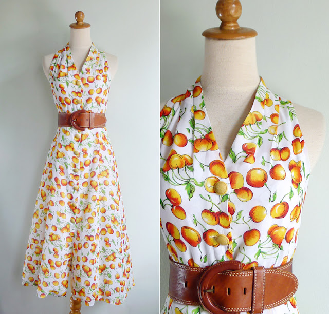 vintage 80's orange fruit print sun dress