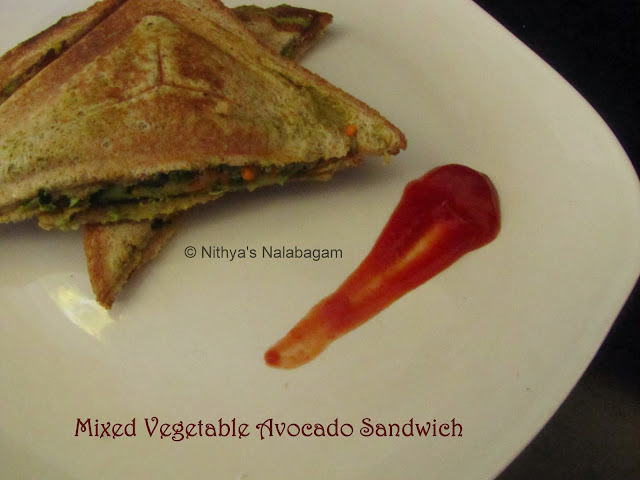 Mixed Vegetable Avocado Sandwich