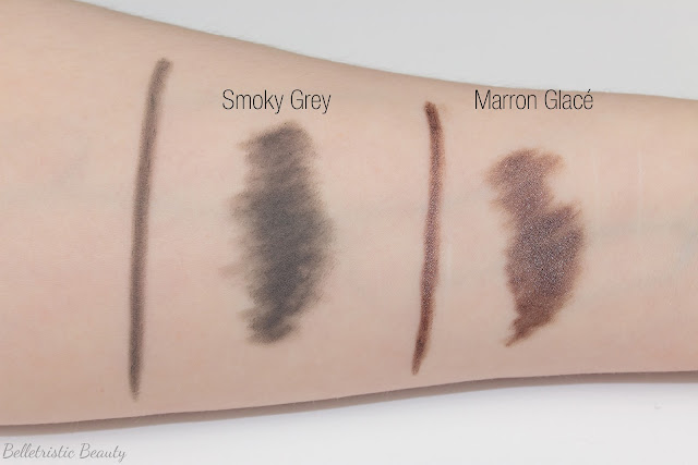 Chanel Smoky Grey 905 and Marron Glacé 906 Stylo Yeux Waterproof Eyeliner swatches Multi-Effect Quadra, Summer 2014