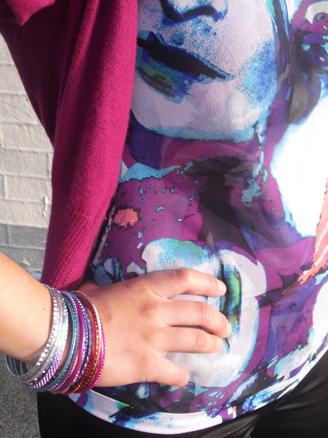 Forever 21 Colorful Bangles and DVF Top
