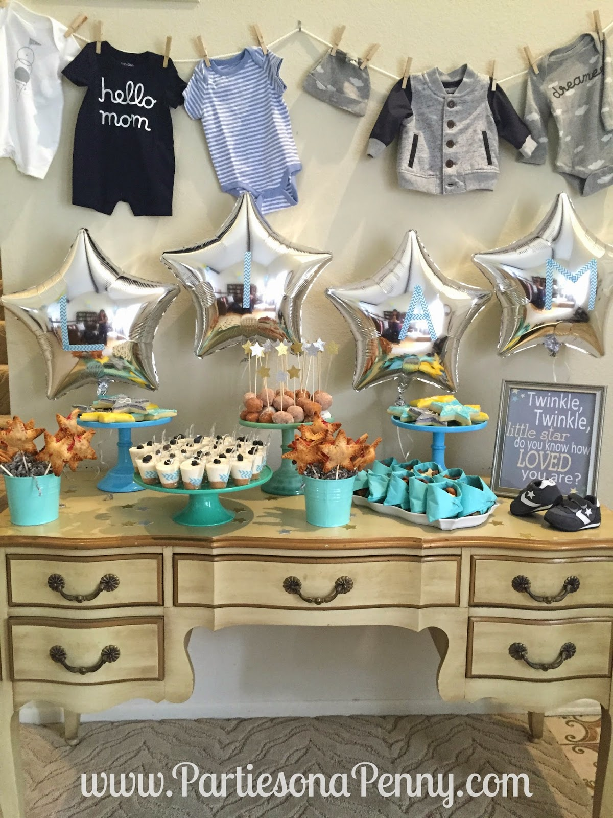 parties on a penny twinkle twinkle little star baby shower dessert table. Black Bedroom Furniture Sets. Home Design Ideas