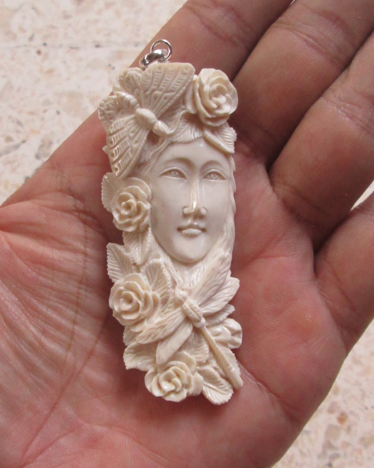 Goddess Carved Bone Pendant with Butterfly and Dragonfly