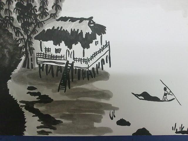 paisaje chino con casa