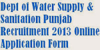 Department of Water Supply and Sanitation Punjab Recruitment 2013