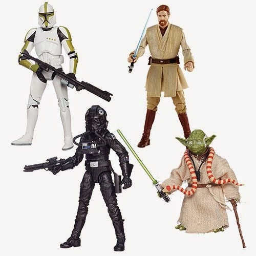 "Star Wars Black Series Wave 6 6"" Action Figures – Clone Trooper Sergeant, Episode IV Tie Pilot, Episode III Obi Wan Kenobi & Episode V Yoda"