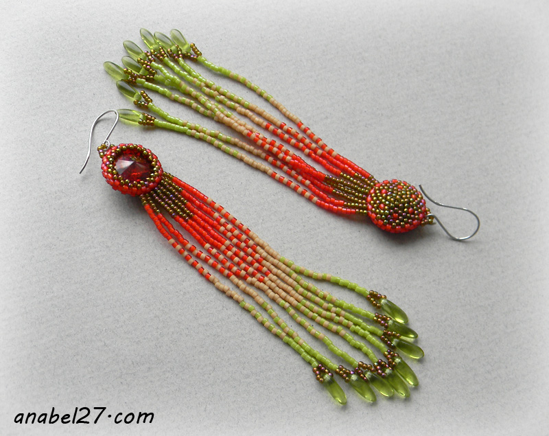 seed bead arrings beadwork beaded jewelry swarovski