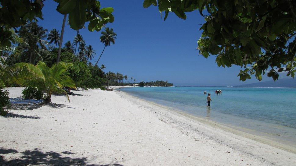 Ponton et vue sur Tahiti depuis le Ia Ora Moorea