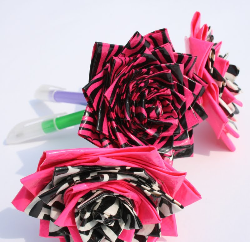 Style with this set of three flower pens constructed by duct tape