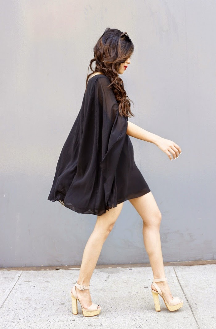Chicwish cape dress, street style, fashion blog, schutz sandals, chanel bag, how to wear cape dress