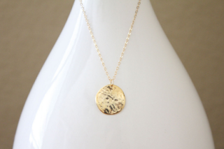 Rose Gold Initial Necklace Disk