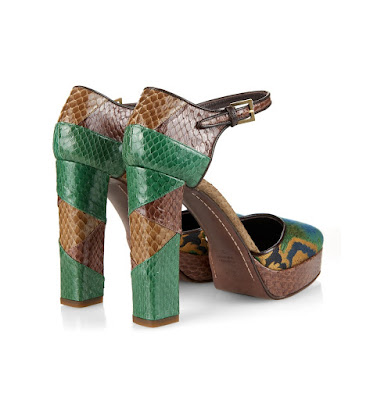 Etro Snakeskin and jacquard chunky heel shoes