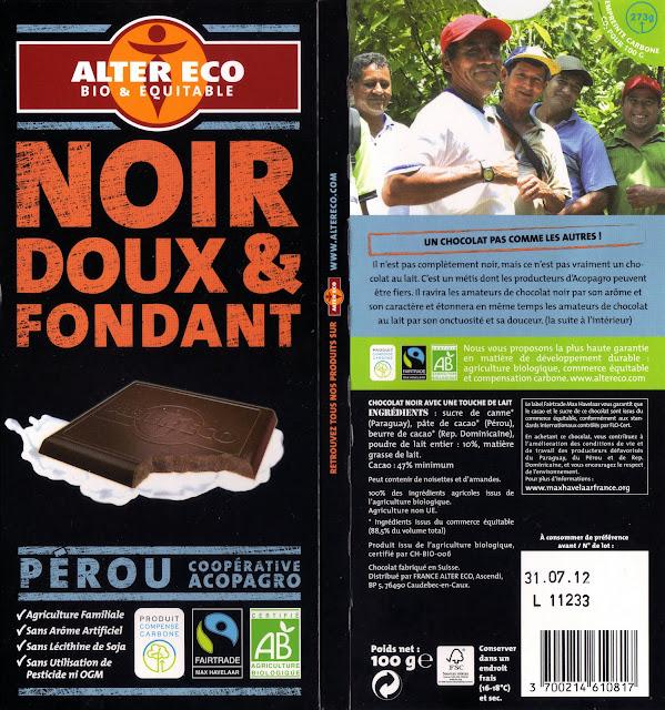 tablette de chocolat noir dégustation alter eco pérou noir doux & fondant