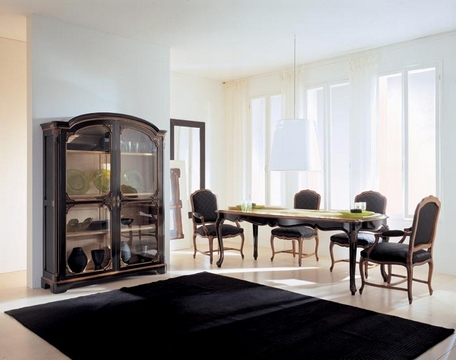 [Black and white dinning room]