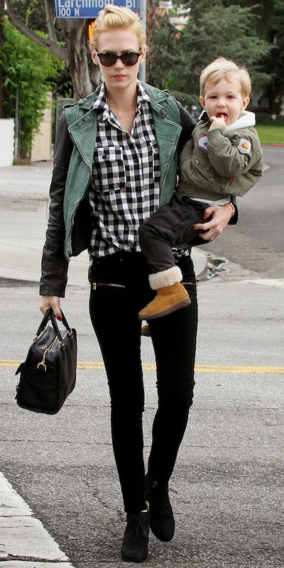January Jones Street Style Plaid Biker Jacket