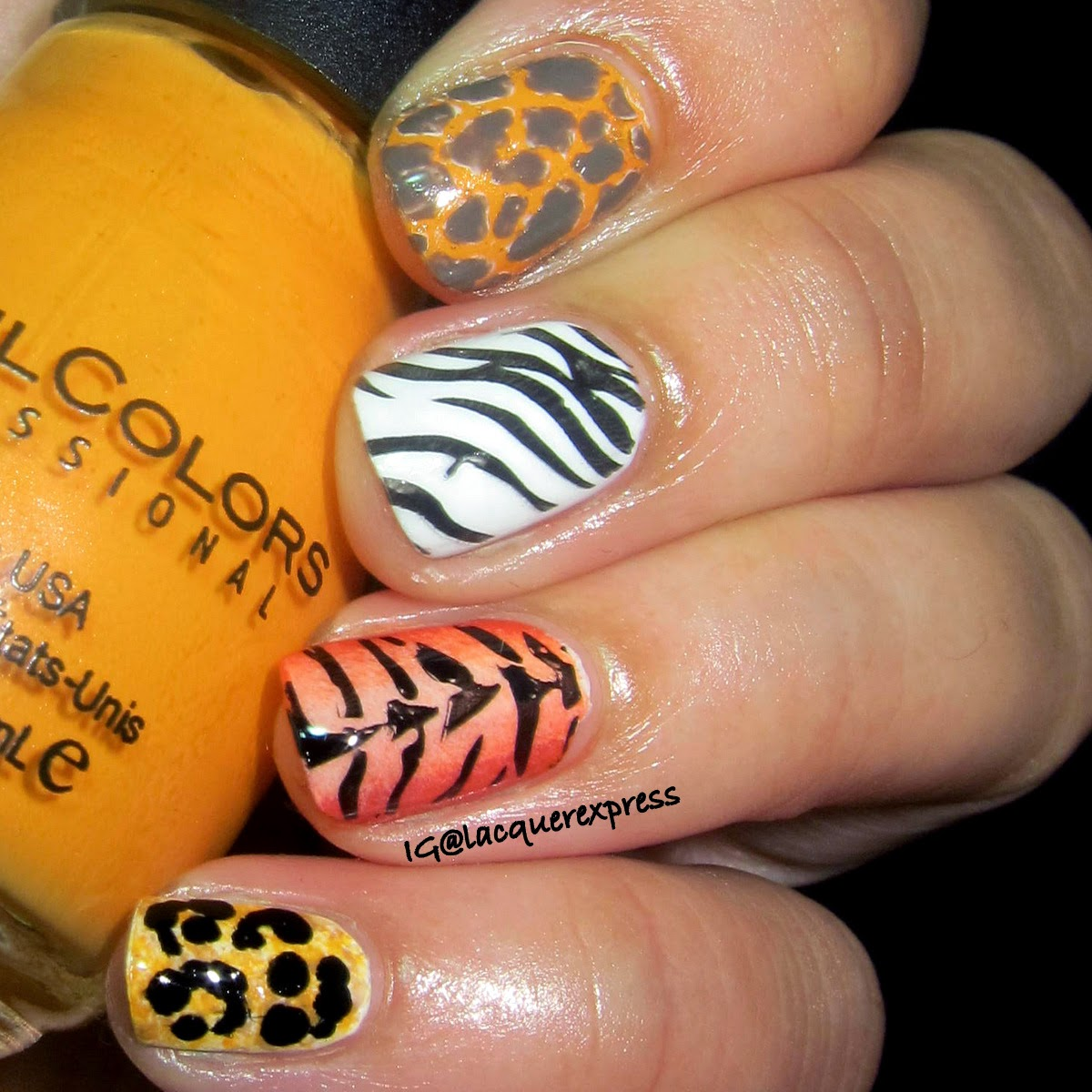 giraffe spots nail art using anchors away polish by sinfulcolors