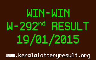 WIN-WIN Lottery W-292 Result 19-01-2015