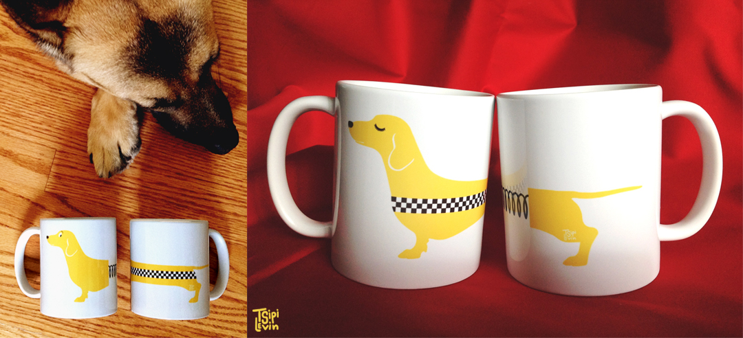 Dachshund Yellow Cab Mug by TsipiLevin