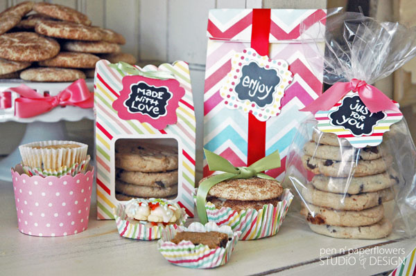 pen paper flowers styling cookie exchange or bake sale packaging station
