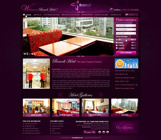 thiết kế wbsite khách sạn chuyên nghiệp chất lượng cao 2016