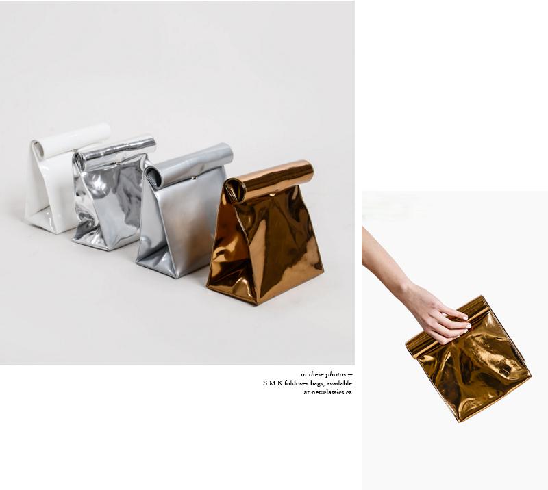 S M K foldover bags via New Classics Studios