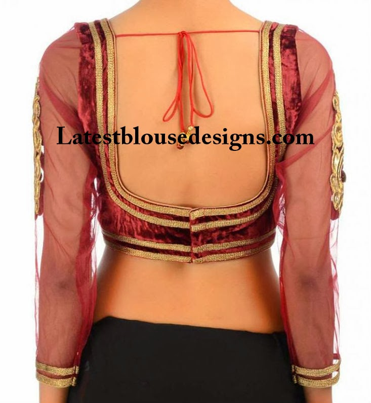 velvet saree blouse designs